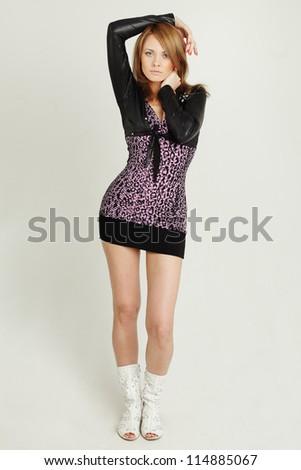 Woman -  young stylish fashion model - stock photo