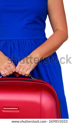 womanin blue dress  with red suitcases close up border isolated on white background - stock photo
