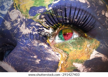 womans face with planet Earth texture and benin flag inside the eye. Elements of this image furnished by NASA. - stock photo
