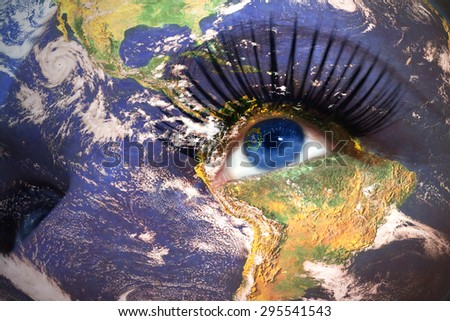 womans face with planet Earth texture and nevada state flag inside the eye. Elements of this image furnished by NASA. - stock photo