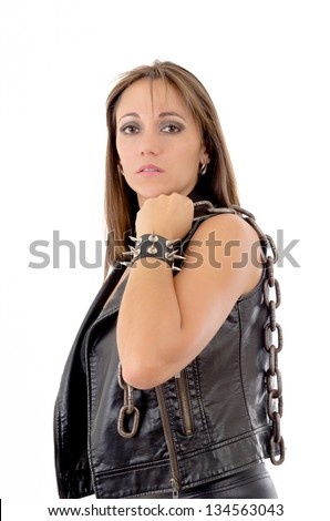 Womans holding a chain, with leather bracelet - stock photo