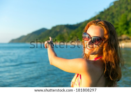 Women against sea - stock photo