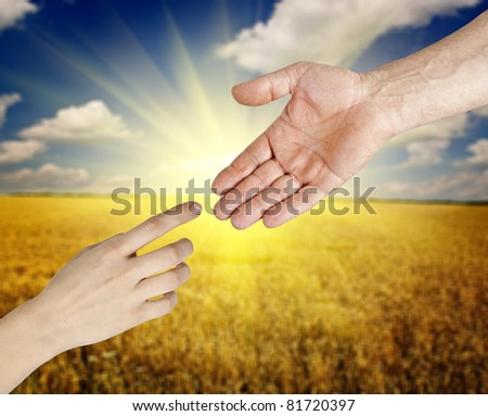 women and man hands on the white backgrounds - stock photo