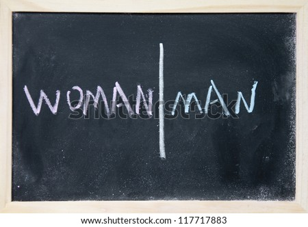 women and men sign drawn with chalk on blackboard - stock photo
