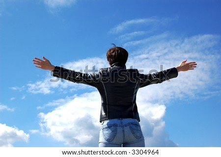 Women and sky - stock photo