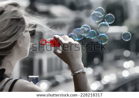 women and soap bubbles - stock photo