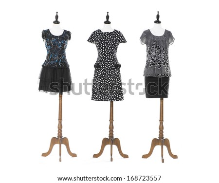 Women black evening dress on three dummy - full-length - stock photo