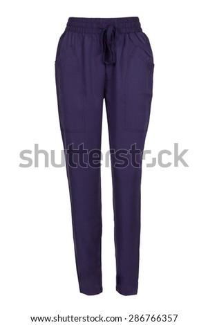 women blue sweatpants - stock photo