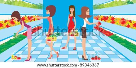 Women choose vegetables in a supermarket. Raster illustration - stock photo
