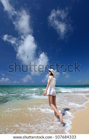Women enjoy the sun. - stock photo