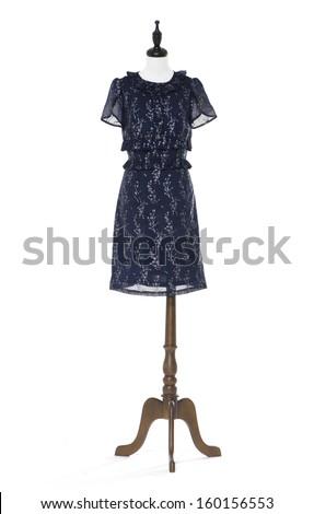 Women evening black dress on a dummy isolated  - stock photo