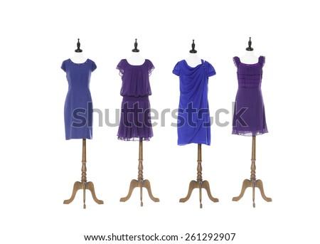 Women evening dress on four dummy - full-length - stock photo