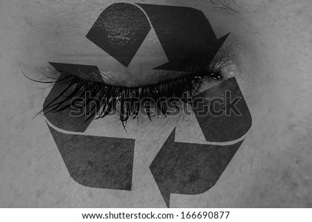 Women eye, close-up, concept of sadness, recycle - stock photo