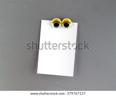 women eyes Fridge Magnet and blank note for text input - stock photo