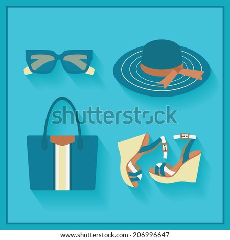 Women fashionable summer accessories - color blue in flat design - stock photo