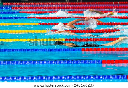 Women free style swimming race on swimming pool - stock photo