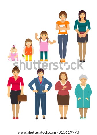 Women generation growing stages flat avatars set isolated  illustration - stock photo