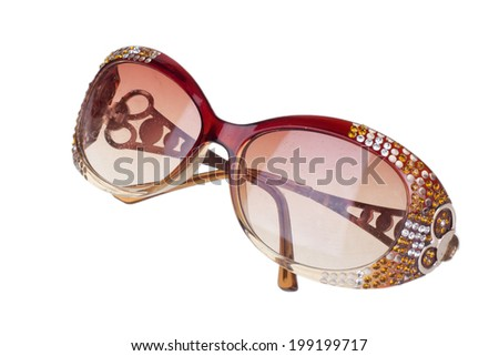 Women glamorous sunglasses on a white background - stock photo