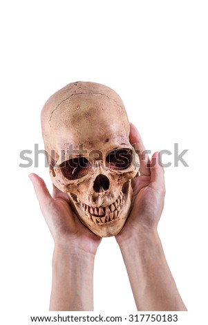 Women hand hole a Skull on Isolated white background, with Clipping Path,Halloween concept - stock photo