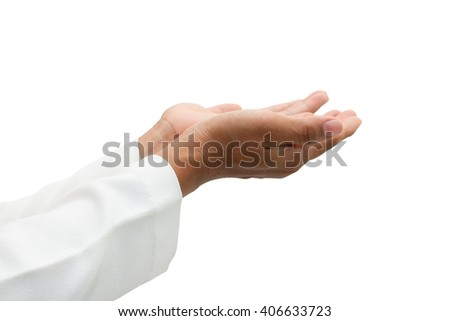 Women hand praying to God isolated on white background,with clipping path. - stock photo