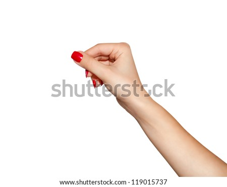 Women hand to hold business card ,credit card,blank paper or other isolated on white background - stock photo