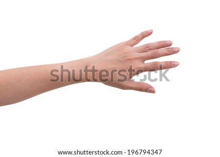 Women hand with opened isolated on white background, clipping path - stock photo