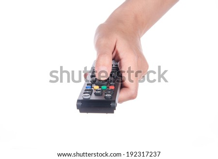 women Hand with remote control on white - stock photo