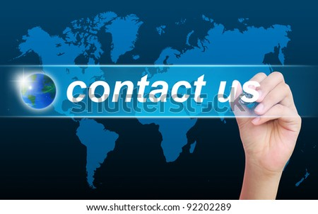 women hand writing contact us - stock photo