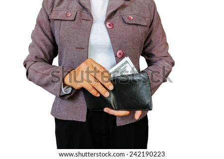 Women hold money to pay  - stock photo