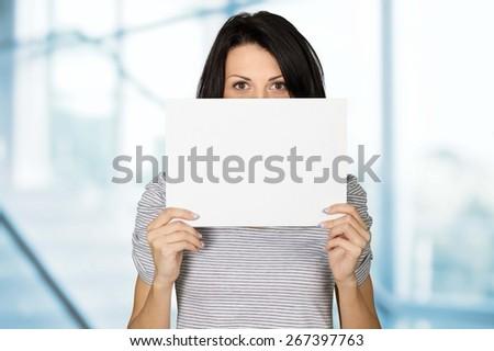 Women, Holding, Sign. - stock photo