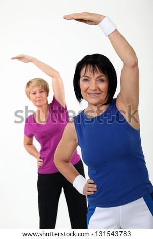 Women in gym class - stock photo