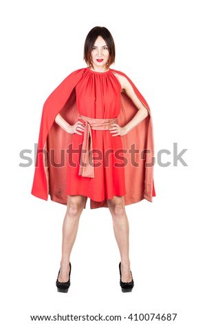 women in red dress on white isolated - stock photo