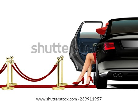 Women in Red Getting out from a Limo - stock photo