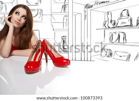women  in shop and thinking what shoes to buy - stock photo