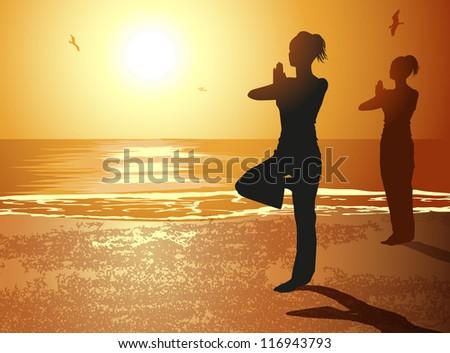 Women in Yoga Pose - stock photo