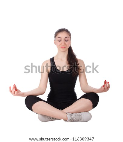 Women in yoga style on the white background. - stock photo