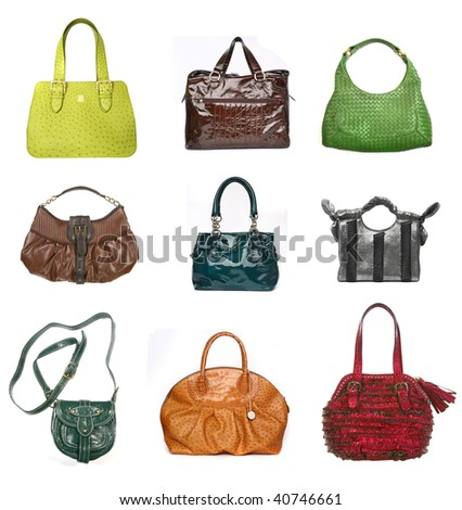 Women leather bags set isolated on white - stock photo