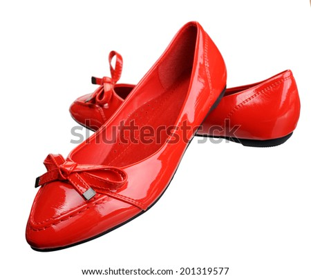 Women leather shoes, isolated on a white background. - stock photo