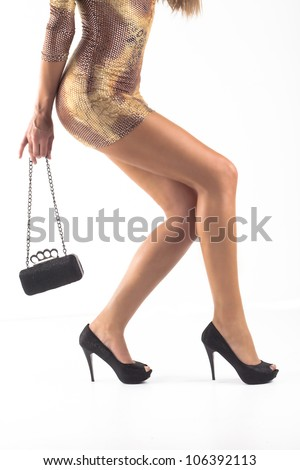 women legs with shoes isolated - stock photo