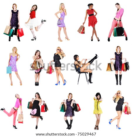 women on shopping - stock photo