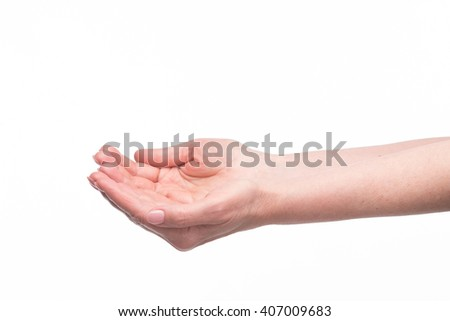 Women open empty hands with palms up over white background. Two palms of old woman in studio. - stock photo