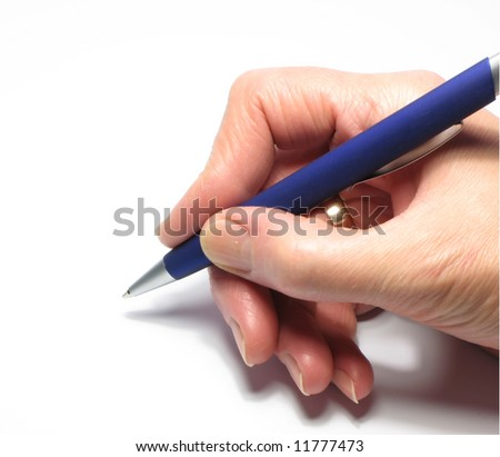Women's arm with a ballpoint pen. - stock photo