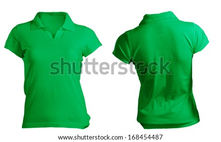 Women's Blank Green Polo Shirt, Front and Back Design Template - stock photo