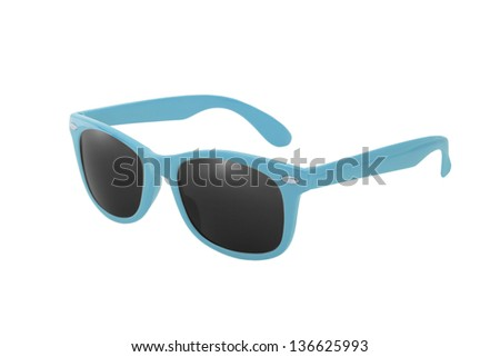 Women's blue sunglasses isolated on white background - stock photo