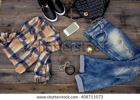 Women's casual clothes and accessories - stock photo