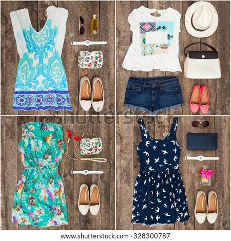 Women's clothes collage - stock photo