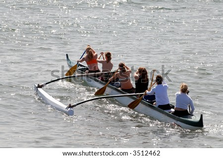 Women's Crew Team Training In The Pacific Ocean - stock photo