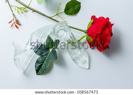 women's crystal shoes in white with blossom of the roses - stock photo