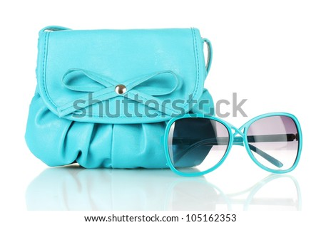Women's fashion accessories isolated on white - stock photo