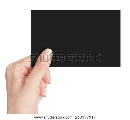 Women's fingers holding a black  business card isolated on white background  - stock photo